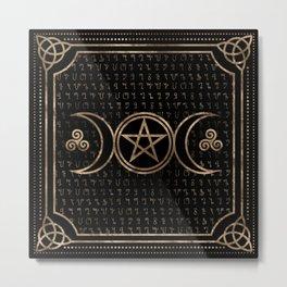 Triple Goddess Symbol - Theban Alpabet pattern Metal Print