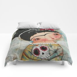 Frida and her sugar skull Comforters