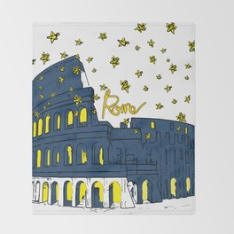 Rome Italy Colosseum Starry night Throw Blanket