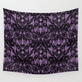 Bats and Beasts (Purple) Wall Tapestry