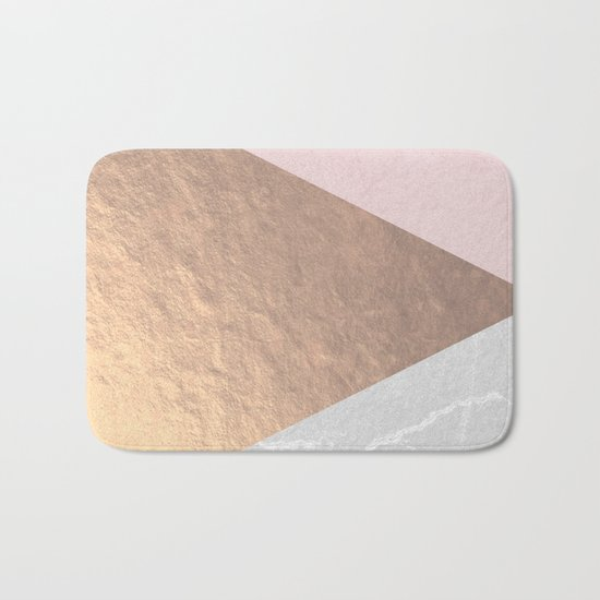 Geo tri - rose gold & concrete Bath Mat