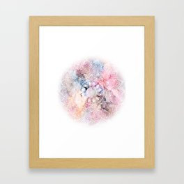 Whimsical white watercolor mandala design Framed Art Print