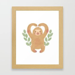 Cute Sloth with leaves illustration Framed Art Print