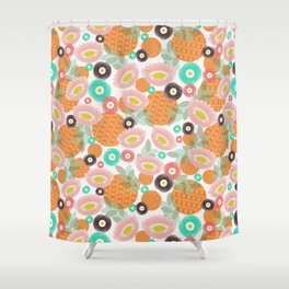 Geometric Oranges and Abstract Flowers Shower Curtain