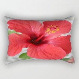 A Stunning Scarlet Hibiscus Tropical Flower Rectangular Pillow