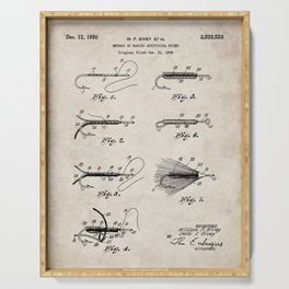 Fly Fishing Patent - Fisherman Art - Antique Serving Tray