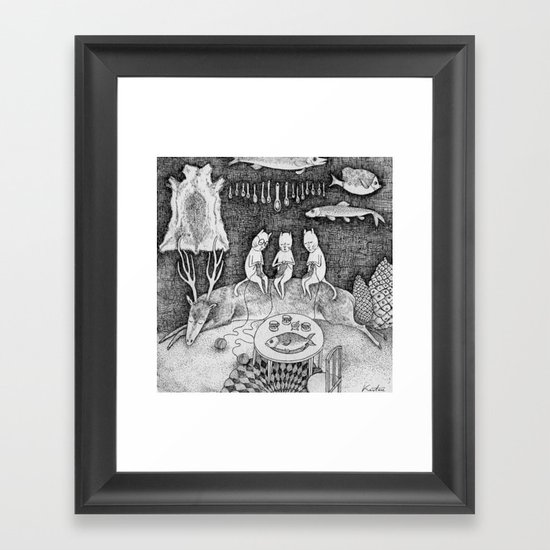 Knitting Cats Framed Art Print