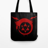 fullmetal Tote Bags featuring Ouroboros by KanaHyde