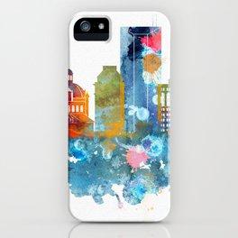 Colorful watercolor Lexington skyline iPhone Case