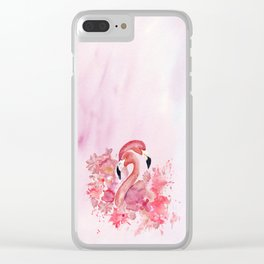 Tropical Birds- Flamingo In LOVE with exotic flowers Clear iPhone Case