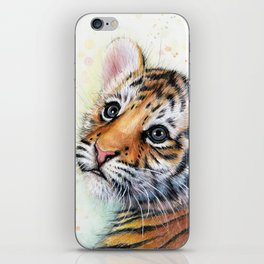 Nursery-Artwork-Tiger-Cub-Baby-Animal-Watercolor-Jungle-Safari-Animals iPhone Skin