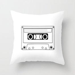 Cassette Tape Silhouette Throw Pillow