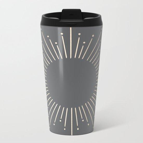 Simply Sunburst in White Gold Sands on Storm Gray Metal Travel Mug