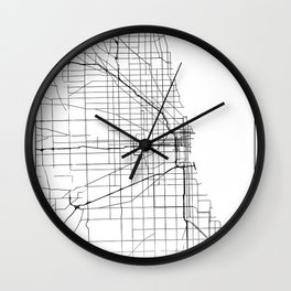 Minimal City Maps - Map Of Chicago, Illinois, United States Wall Clock