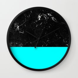 Aqua Blue Meets Black Marble #1 #decor #art #society6 Wall Clock