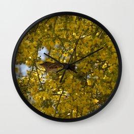 Little finch in Palo Verde Wall Clock