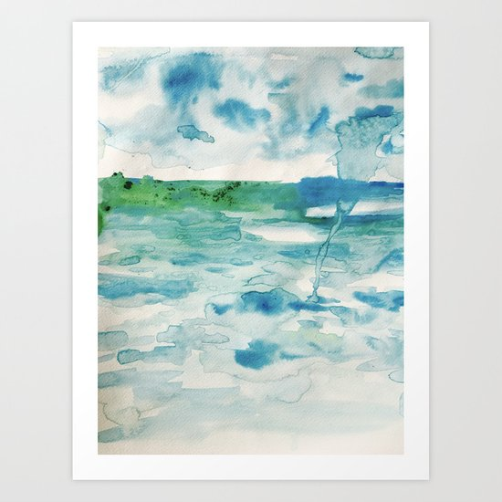Miami Beach Watercolor #2 Art Print