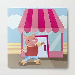 a pig chopping  Metal Print