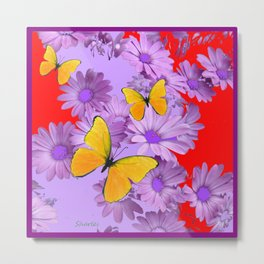 Red Yellow Butterflies Lilac Color Purple Daisies Metal Print