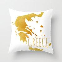 greece Throw Pillows featuring Greece by Stephanie Wittenburg