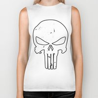 punisher Biker Tanks featuring The Punisher by sokteulu