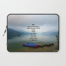 Serenity Prayer With Phewa Lake Panoramic View Laptop Sleeve