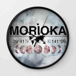 Morioka, Japan, Iwate, Watercolor Design with Latitude & Longitude Map Coordinates Wall Clock