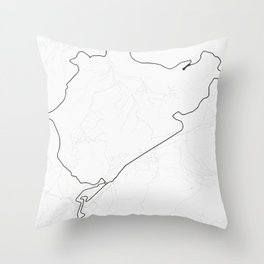 Nürburgring Nordschleife and GP Track Circuit Map Throw Pillow