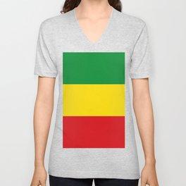 Flag of Ethiopia Ethiopian Rastafarian Flag Unisex V-Neck