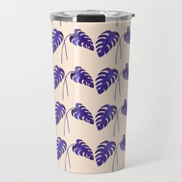 Indigo Monstera Leaf Watercolor on Blush Travel Mug