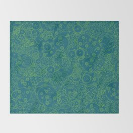 Clockwork Turquoise & Lime / Cogs and clockwork parts lineart pattern Throw Blanket