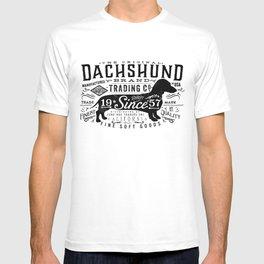 Dachshund trading company long dog graphic art illustration typography T-shirt
