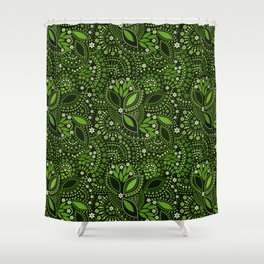 Scattering beads, green Shower Curtain