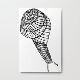 Black and White Snail Metal Print