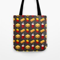 junk food Tote Bags featuring Isometric junk food pattern by Irmirx