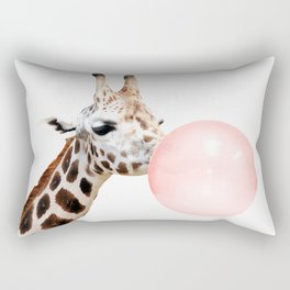 Giraffe with pink bubble gum Rectangular Pillow