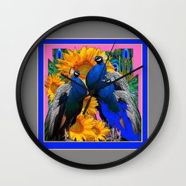 BLUE PEACOCK &  PINK-GREY COLOR YELLOW FLOWERS Wall Clock