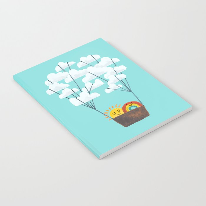 Hot cloud balloon - sun and rainbow Notebook