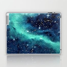 Northern Lights galaxy watercolor landscape painting Laptop & iPad Skin