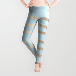 Abstract Drawn Stripes Gold Tropical Ocean Sea Turquoise Leggings