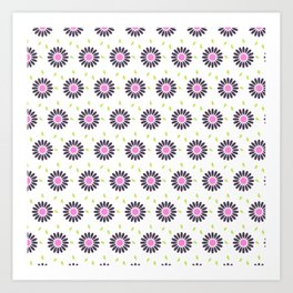 Hand painted black pink lime green floral daisies Art Print