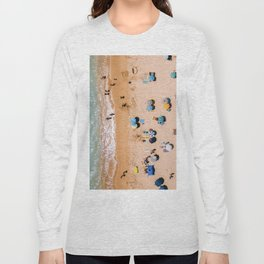 People On Algarve Beach In Portugal, Drone Photography, Aerial Photo, Ocean Wall Art Print Long Sleeve T-shirt