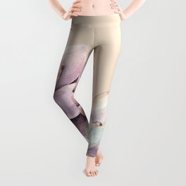 Trendy Apricot + Mint Succulents Leggings