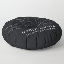 North Dakota State Road Map Floor Pillow