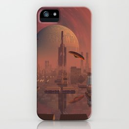 Futuristic City with Space Ships iPhone Case