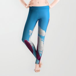 Pink Saguaro Against Blue Cloudy Sky Leggings