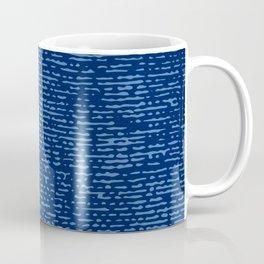 Worn denim blues: Blue on dark blue texture, work shirt. Coffee Mug