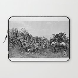 Portion of the cactus hedge at Mission San Gabriel with horseman, ca.1886 Laptop Sleeve