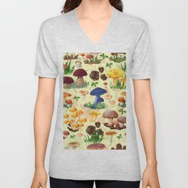 Collection of mushroom colorful fall pattern Unisex V-Neck