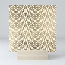 Elegant chic faux gold white japanese wave scallop pattern Mini Art Print